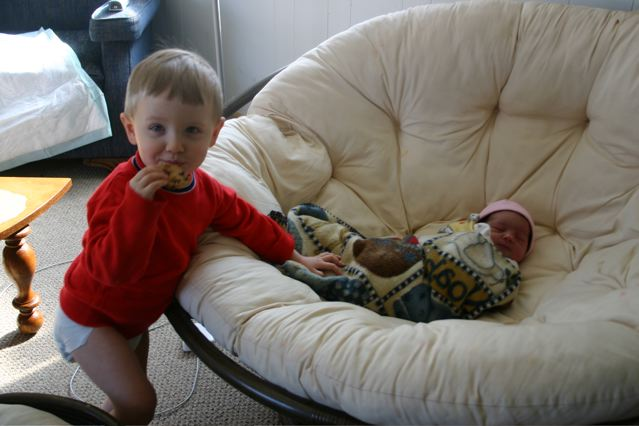Christian with his new sister, Abigail